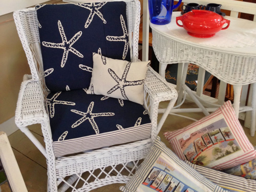 Wicker Chair navy starfish print
