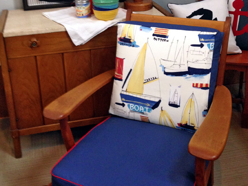 Wood chair boat print